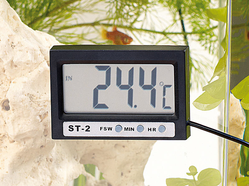 Kühlschrank Thermometer Funk : Infactory digitales aquariums thermometer mit lcd uhr
