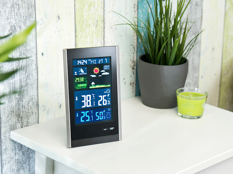 infactory funk wetterstation mit au ensensor wecker usb ladeport 2 ampere. Black Bedroom Furniture Sets. Home Design Ideas