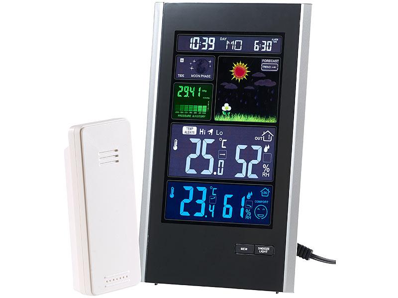 Digital Wetterstation mit Funkwecker Thermometer Funk Außensensor Funkuhr