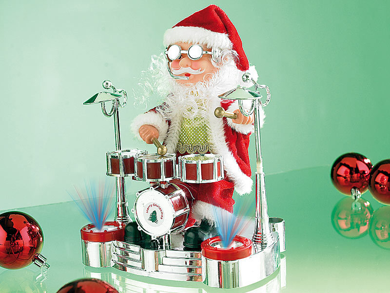 infactory Singender Schlagzeuger-Weihnachtsmann mit LED-Lichtershow