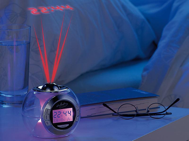 Projektions-Licht-Wecker-Uhr mit LED-Farbwechsel+Naturklängen+Temperaturanzeige