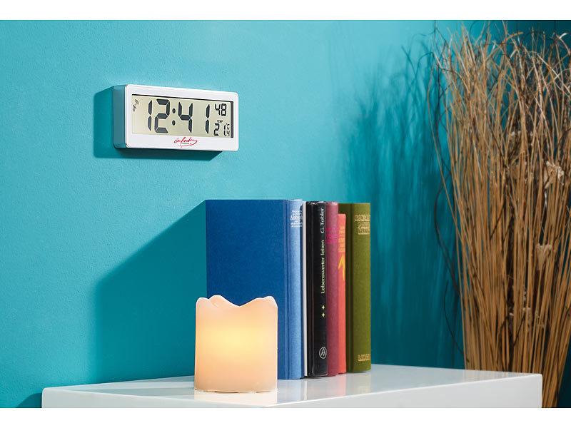 infactory kompakte funkuhr mit riesigem xxl lcd display und temperatur anzeige. Black Bedroom Furniture Sets. Home Design Ideas