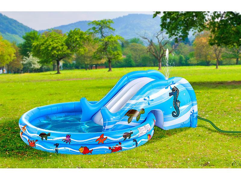 Infactory aufblasbares kinderplanschbecken mit rutsche for Pool mit rutsche
