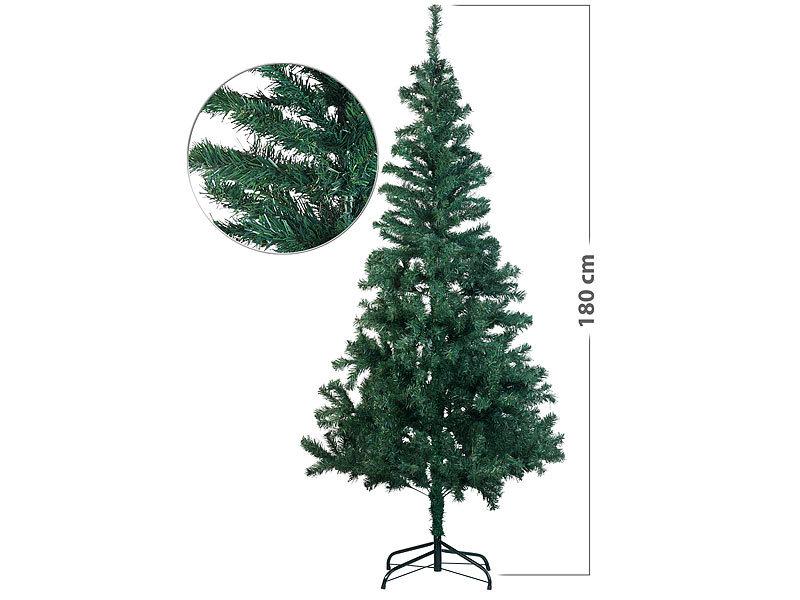 künstlicher Weihnachtsbaum grün 180 cm Christbaum mit 200 LED Lichterkette Xmas