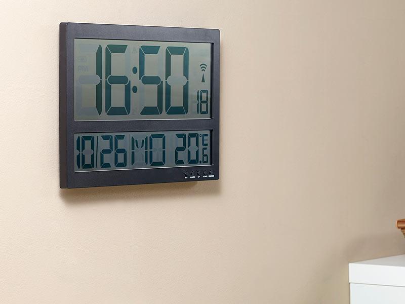 infactory digitale wanduhr mit jumbo lcd display innentemperatur anzeige. Black Bedroom Furniture Sets. Home Design Ideas
