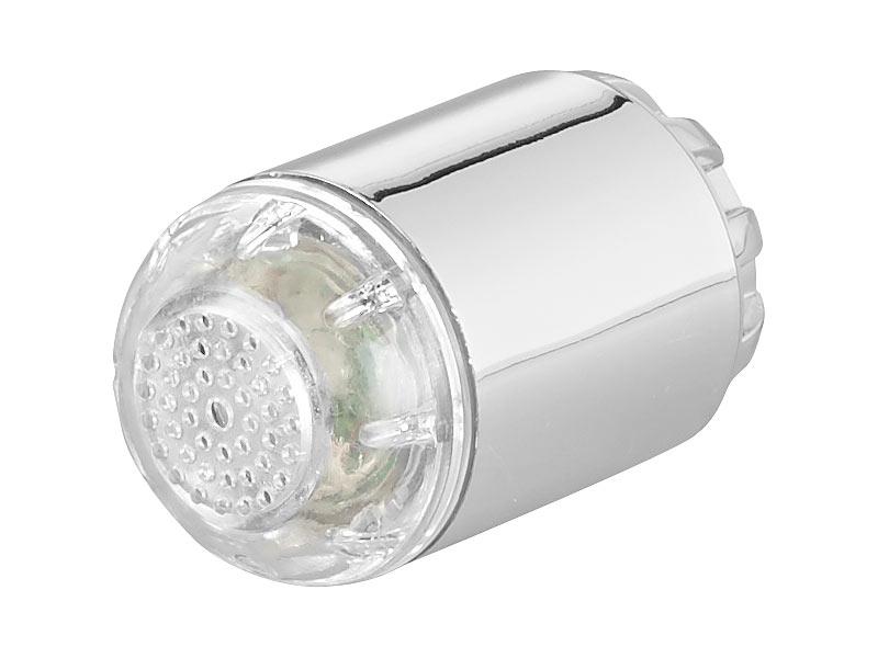 infactory Dynamo-LED-Wasserhahnaufsatz zur Temperaturkontrolle leuchtet farbig