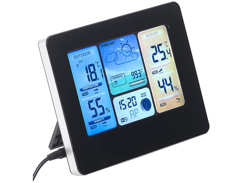 Funk Wetterstation mit LCD Farbdisplay Außensensor Funkuhr Wettervorhersage Uhr