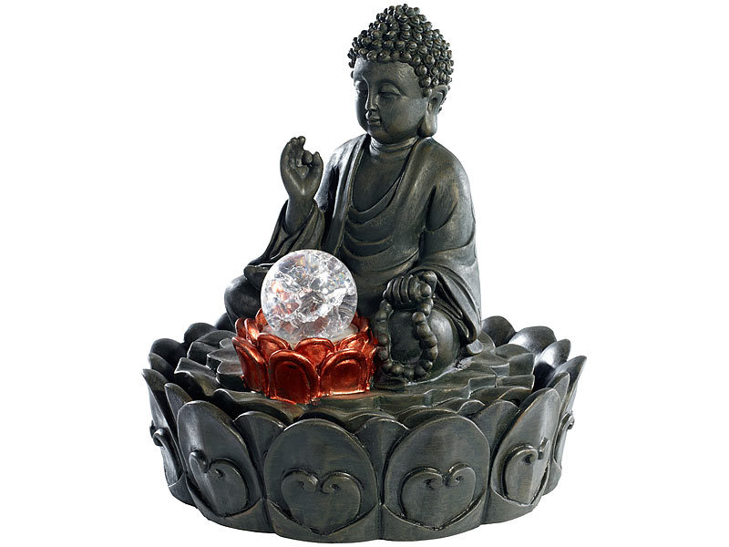 Zimmerbrunnen Buddha Rhuna mit LED und Pumpe Indoor-Brunnen Zierbrunnen