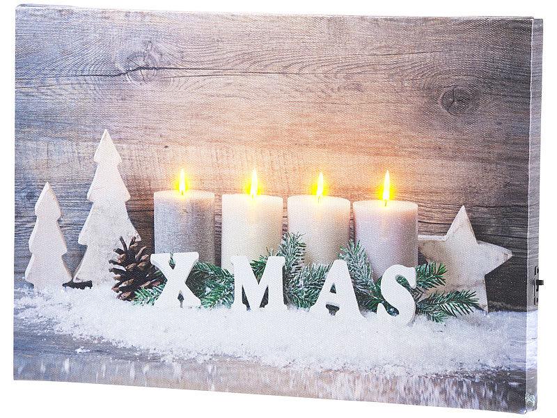Led Bilder Weihnachten.Infactory Wandbild Kerzen Im Schnee Mit Led Beleuchtung 30 X 20 Cm