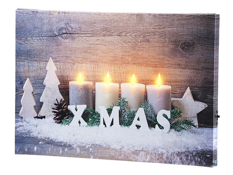 Weihnachtsbilder Mit Licht.Infactory Wandbild Kerzen Im Schnee Mit Led Beleuchtung 30 X 20 Cm