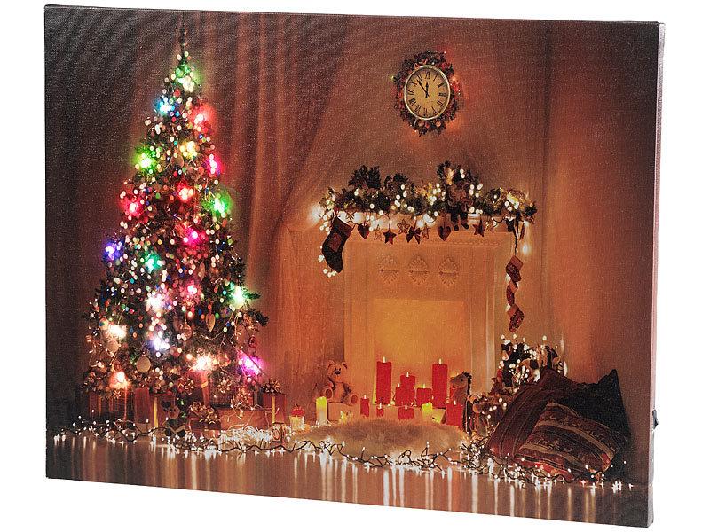 LED Leinwand Bild Bilderrahmen Weihnachten Kerzen Licht Leuchten