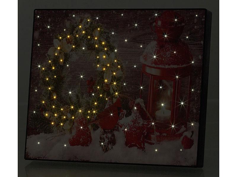 Infactory Wandbild Weihnachtskranz Mit Laterne Mit Led Beleuchtung