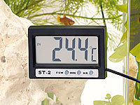 infactory Digitales Aquariums-Thermometer mit LCD-Uhr