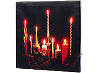 "infactory LED-Leinwandbild ""Advent"" mit Kerzenflackern"