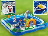 Infactory Aufblasbarer Wasserspielplatz Hafenlandschaft Mit 2 Booten