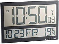 infactory Digitale Wanduhr mit Jumbo-LCD-Display, Innentemperatur-Anzeige