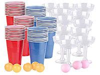 und 5 B/ällen je 450 ml infactory Bierpong: Trinkspiel-Set Bier Pong mit 60 Bechern Partybecher