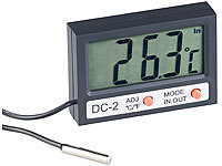 infactory Digitales Aquarium-Thermometer mit Uhrzeit und LCD-Display, 1 m Kabel